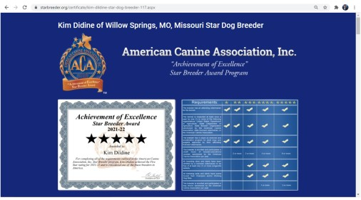 Kim Dildine Dog Breeder star