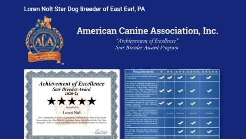 Loren Nolt dog breeder star certificate