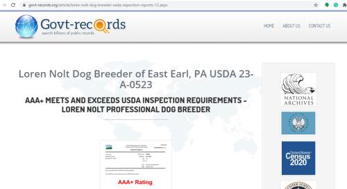 Loren Nolt dog breeder government inspection report