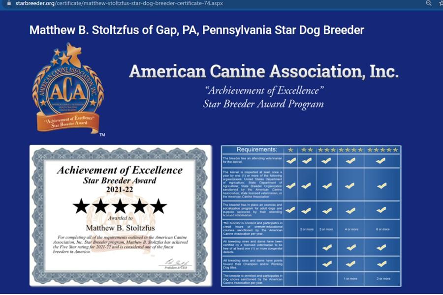 Matthew Stoltzfus 5 Star Breeder Award