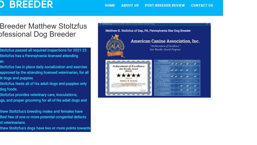 Goodbreeder.org Award for Matthew Stoltzfus