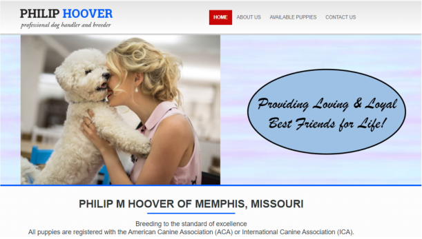 Philip Hoover dog breeder website